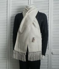 NEW Peru Luxurious Fringed Solid Light Beige Alpaca Long Scarf