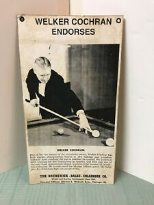 Mid 1930's Brunswick Balke Collender Photo Adv. Endorsement by Welker Cochran