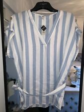River Island Plus Ladies Baby Blue White Stripe Top Size 24 New Button Sleeve