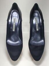 Authentic Hand Made Manolo Blahnik Shoe Pump Satin patent Leather BLk US 8 EU 39
