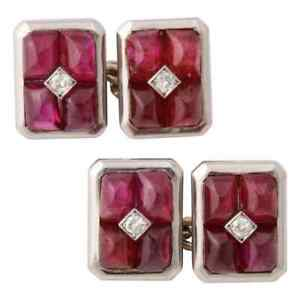 925 Silver Diamond Cuff links White Gold Plated Ruby Full Cut Men's Jewelry