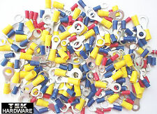 MIXED RING TERMINALS. 200 Pack .. RED, BLUE, YELLOW Crimp Connectors 5mm to 10mm