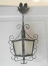Antique FRENCH  Iron & Glass LANTERN  Ceiling Fixture hall way fixture