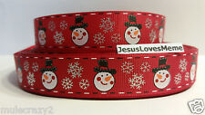 "Grosgrain Ribbon, Snowman & Silver Foil Snowflakes on Red, Christmas, 7/8"" Wide"