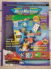 Micro Machines Sega Genesis Promotional Magazine Ad Art Print Poster Retro Game
