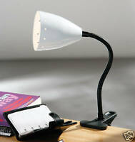 FLEXI NECK CLIP-ON DESK LAMP WHITE METAL SHADE OFFICE READING STUDENT STUDY 992