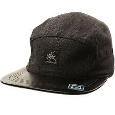 Wool Herringbone 5 Panel Faux Leather Snapback Cadet Cap Hat Adjustable Black
