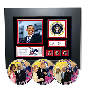 Obama Inaugural Presidential Illinois State Ball with Colorized State Quarters
