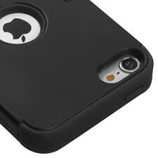 For iPod Touch 6th Gen - HARD & SOFT RUBBER HIGH IMPACT ARMOR CASE BLACK HYBRID