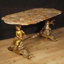 Tavolino salotto tavolo legno dorato sculture putti marmo mobile stile antico XX
