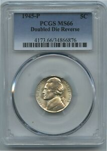 1945 P Rare Double Die Reverse PCGS MS66 SuperCool Blundered Dies Wartime Silver