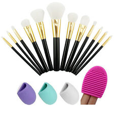 12PCS Makeup Cosmetic Brushes Set Powder Foundation Lip Brush Cleaning Egg Tool