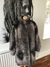 GINAR designer grey faux fur coat size 44/ GB 14