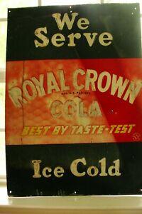 Original R C Cola Royal Crown Cola Advertising Sign1940's 28x20 Rare