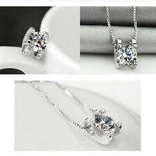 Crystal Rhinestone Clavicle Necklace Zircon Pendant Moved Love Silver Plated