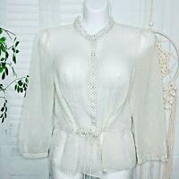 Ann Taylor LOFT sz 6 Sheer Blouse Button Down Polka Dot Shirt Drawstring Career