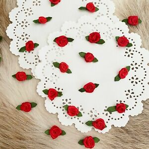 Tiny Red Roses,Ribbon Roses,Mini Roses,Fabric Flowers,Applique,Small Roses Leaf