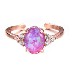 Lovely Flower Style Rose Pink Fire Opal Gems Rose Gold Plated Adjustable Rings