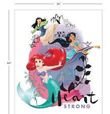 "36"" Digital Fabric Panel - Camelot Disney Princess Heart Strong Ariel Jasmine"