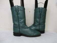 Justin Green Leather Roper Cowboy Boots Womens Size 6.5 C. Style L3722. USA
