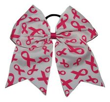 """NEW """"BREAST CANCER Fancy Ribbons"""" Cheer Hair Bow Pony Tail 3"""" Girls Cheerleading"""