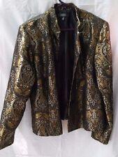 DRESSBARN SHINY BLACK & GOLD EMBROIDERED JACKET BLAZER