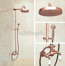 Antique Red Copper Bathroom Rain Shower Faucet Set Dual Handles Mixer Tap Urg615