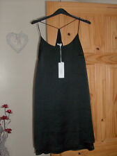 glamorous ladies black lined slip dress uk sz 14 new