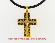"""Black and Gold Cross Cremation Jewelry Pendant Urn Keepsake - 20"""" Cord & Funnel"""