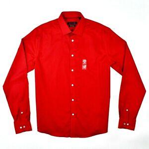 Tommy Hilfiger Men's Slim Fit Red Long Sleeve Dress Shirt