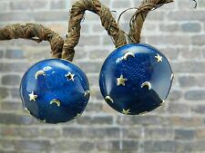 Vintage Signed Costume Gold Tone Blue Enamel Moon and Star Earrings