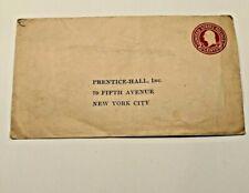 1919 Preprinted 2 Cent US Domestic Postage Paid Envelope Prentice-Hall