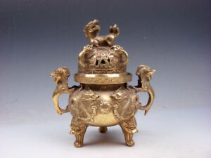 Vintage Brass Tripod Incense Burner Foo Dog Lions Dragon Handles Dragons Pearl