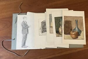 """1920-30's Student Artist's Sketchbook Portfolio  37 Paintings, Drawings 6"""" X 9"""""""
