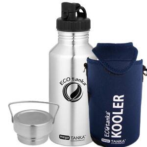 ECOtanka megaTANKA  2,0l Edelstahlflasche mit 2 Verschlüssen + KOOLER
