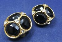 Vintage Costume Earrings Black Glass Faceted Stones Gold tone Clip on Quality