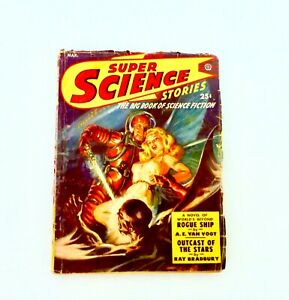 March1950  SUPER,SCIENCE STORIES, BRADBURY, MACDONALD, CLARKE, N Saunders Cover