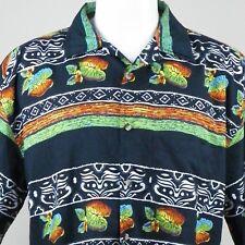 Jack Hollywood Mens Hawaiian Shirt XL Tropical Ferns Tapa Print Aloha Friday