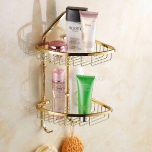 Gold Color Brass 2 Tier Bathroom Shower Wasl Basket Shelf Tidy Caddy eba098