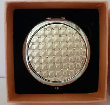 "BEAUTIFUL ""SILVER & DIAMANTE"" COMPACT MIRROR WITH MAGNIFIER! BIRTHDAY GIFT!"