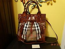 BURBERRY Bridle House Check Large Whipstitch Tote Brown