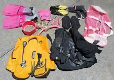 Scuba Equipment Lot Fins-Bag-Gloves-Goggles-Boots-Snorkel-tank protector READ ON