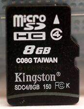 Kingston 8GB class 4 SDHC memory card.