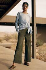 NWT Theory Womens SZ 10 Namid  Sailor Chinos Khaki Wide Leg Olive Crop Pants