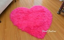 "5' or 60"" Diameter Heart Hot Pink Rug Shaggy White Faux Fur Nursery Baby Rug"