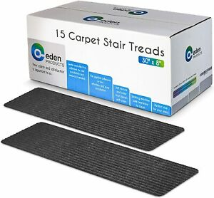 """EdenProducts Non-Slip Carpet Stair Treads 15 Count 8"""" x 30"""" in Gray NEW"""