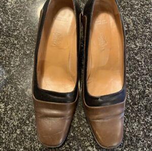 vintage Classic Hermes Leather shoes pumps 38.5 8.5