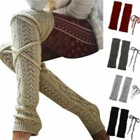 Women Winter Warm Cable Knit Extra Long Boot Socks Over Knee Thigh High Stocking