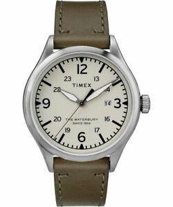 Timex Men's TW2R71100 Waterbury 40mm Cream Dial Leather Watch