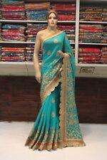 Silk Classy Indian Designer Saree Bollywood Kundan Work Sari Bridal Party Dress